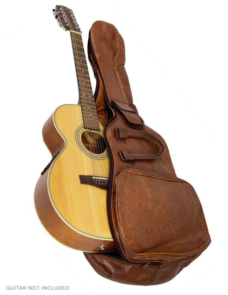 zest for life leather acoustic guitar case padded gig bag musical instruments. Black Bedroom Furniture Sets. Home Design Ideas