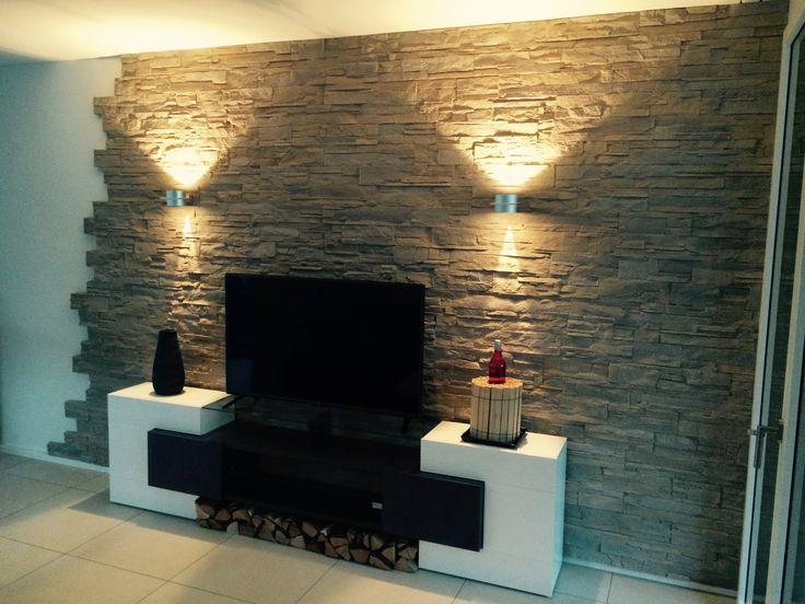 Steinwand Optik u2026 Pinteresu2026 - steinwand wohnzimmer fernseher
