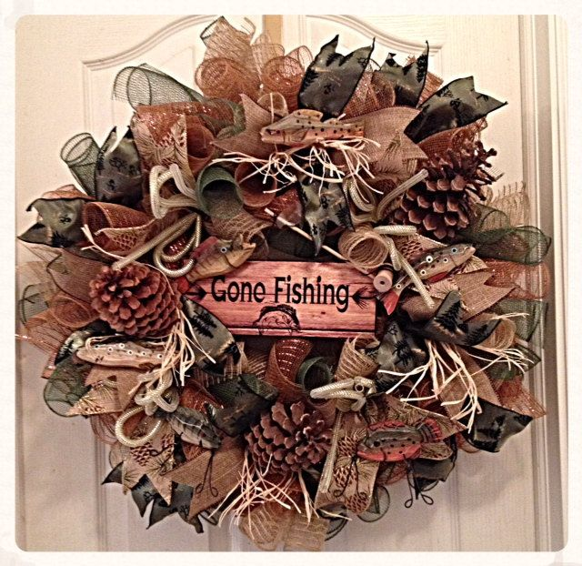 Gone Fishing Deco Mesh Wreath/ Fishing by CKDazzlingDesign on Etsy, $85.00