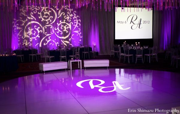 indian wedding reception dance floor purple lighting http://maharaniweddings.com/gallery/photo/5515