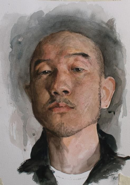 "Sam Kim (Korean: 1981): ""Today, I just tried watercolor, been a long time since painted last work. It's also study. I don't have any idea with watercolor yet but I'll study steadily."" - A Self Portrait (2012)"