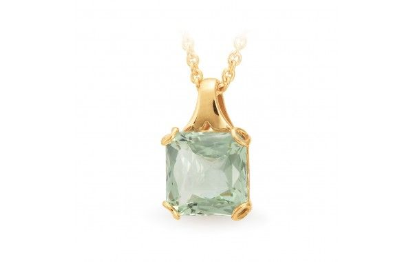9ct yellow gold pendant featuring a cushion cut green amethyst.