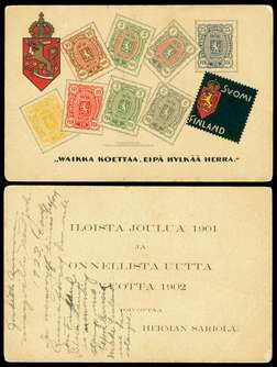 """Mourning Stamp design on Christmas 1901 / New Years 1902 greeting card, images of 8 values of the 3-Numeral Finnish stamp issue & Finnish coat of arms. The text on front is a protest statement. On reverse is printed holiday greeting . card seems to have been printed in the U.S. bears the statement """"COPYRIGHT 1901, / FINNISH LUTH. [LUTHERAN] BOOK CONCERN, HANCOCK, MICH."""""""