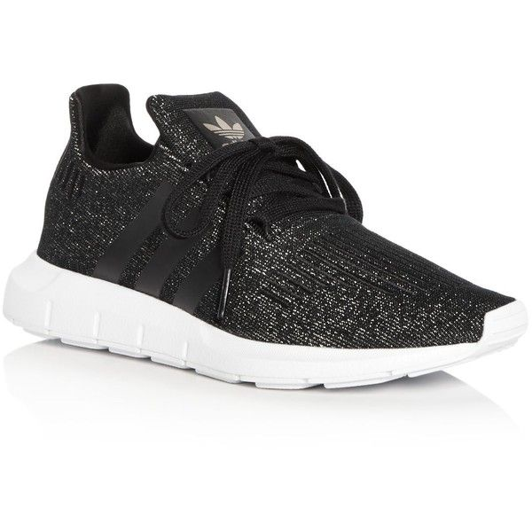 Adidas Women's Swift Run Knit Lace Up Sneakers (2 530 UAH) ❤ liked on Polyvore featuring shoes, sneakers, black, adidas trainers, rubber sole sneakers, adidas sneakers, rubber sole shoes and lace up shoes