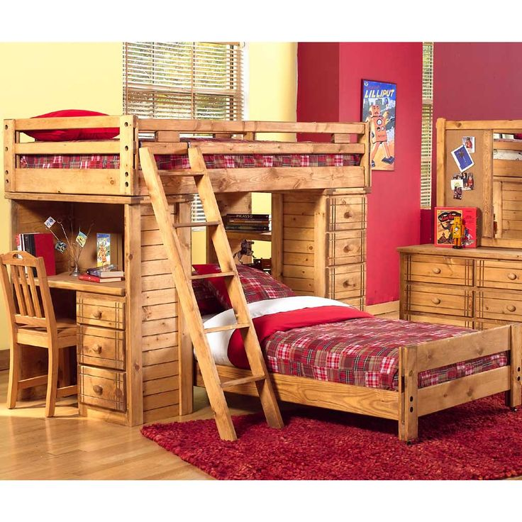 Bunk bed, desk, five drawer chest, and headboard footboard combination. This set includes a three drawer bunk desk 10A-710, a five drawer chest of drawers with attached shelves 10A-711, two beds, and a five step wooden ladder. This set is of a rustic, southwestern style and features wooden knobs.
