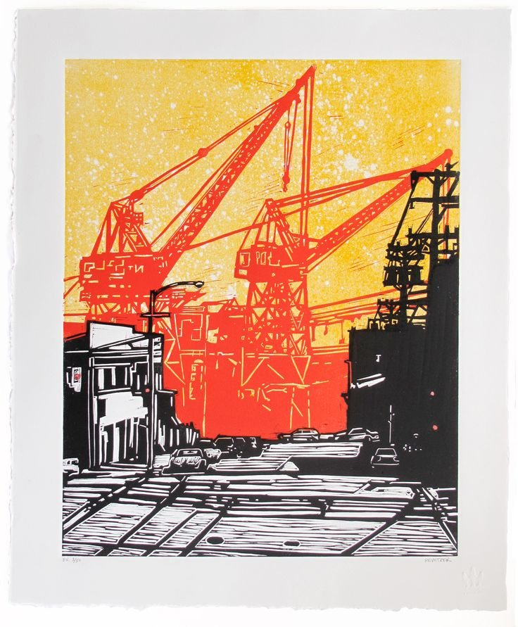 Dogpatch ~ Linocut (3 color), Rives BFK, 20 x 24 inch ~ Eric Rewitzer (3 Fish Studios)