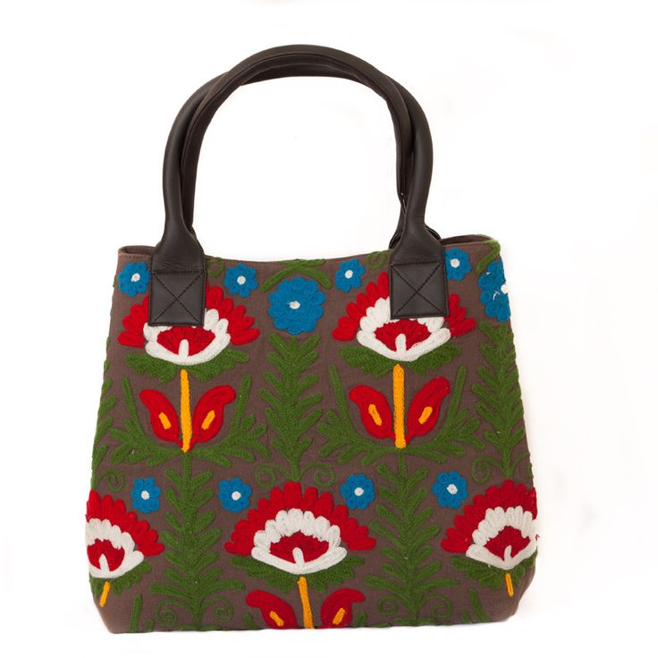 Hand Embroidered Floral Handbag - Chocolate | The Hues of India