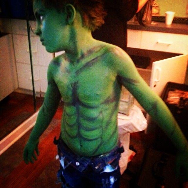Kids Hulk Halloween Body Paint and Makeup!  Book Online 24/7 at…