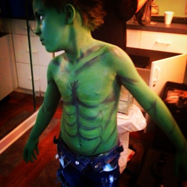 Kids Hulk Halloween Body Paint and Makeup!  Book Online 24/7 at www.EyesOnYouTampa.com or call us! (813)344-1900