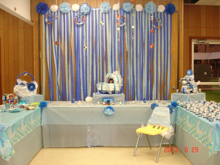 Baby Boy Decorating Kit Orientaltrading Com In 2020 Diy Baby Shower Decorations Boy Girl Baby Shower Party Baby Shower Decorations For Boys