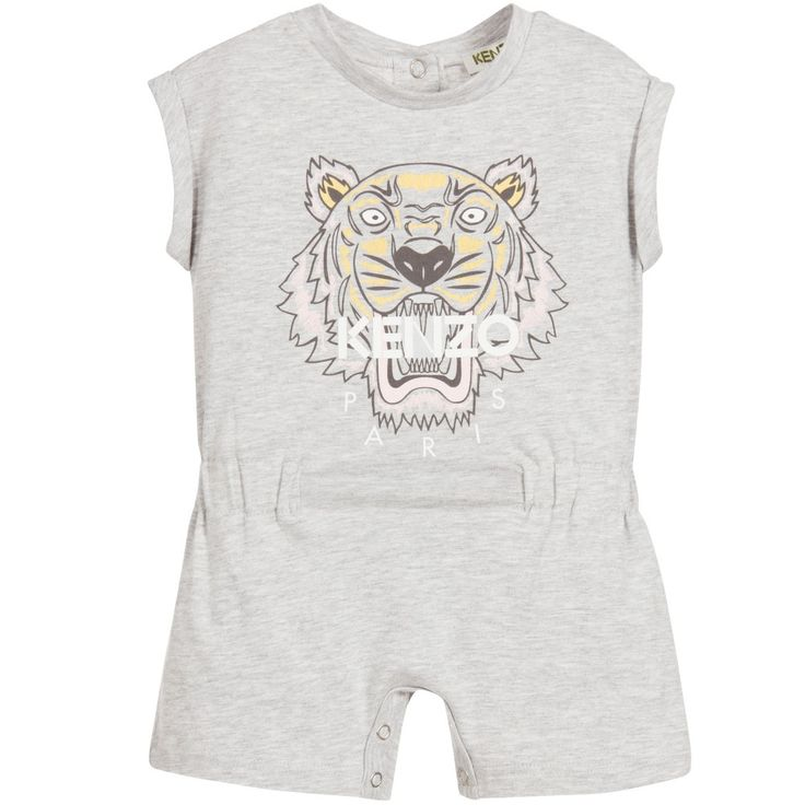 Kenzo Baby Girls Grey Cotton Tiger Playsuit at Childrensalon.com