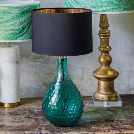 Sea Green Honeycomb Glass Lamp   Lighting   Shop By Category   New In