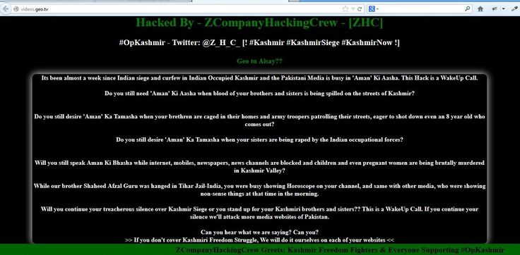 Pakistani News Channel websites hacked by 'Z Hacking Crew' http://news.thehackernews.com/pakistani-news-channels-websites-hacked-by-z-hacking-crew #security