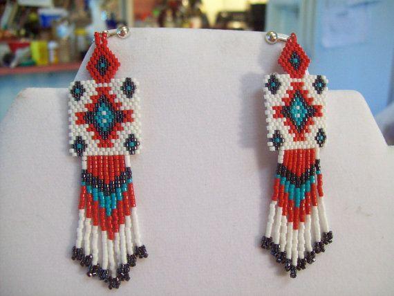 Native American Beaded Red  WhiteTurquoise by BeadedCreationsetc,