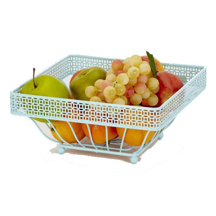 Laura Ashley Blue Fruit Basket (Fruit Basket, Blue), Brown (Iron)