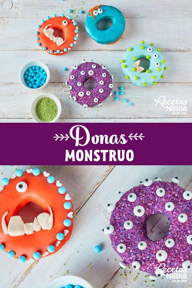 Prepara estas #DONAS #MONSTRUO para tu próxima fiesta de #HALLOWEEN Felt Cake, Doughnuts, Halloween Party, Brownies, Desserts, Lunch, Cookies, Food, Recipes
