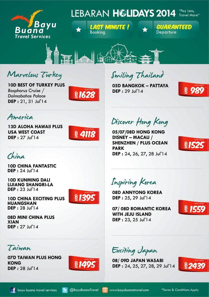 Limited Seats! Lebaran Holidays 2014 ~ Last Minute Offers, Guaranteed Departure. Call 021 2350 9999 for further info!