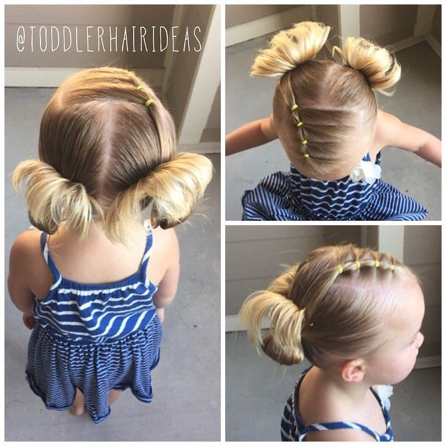 "382 Likes, 24 Comments - Cami Toddler Hair Ideas (@toddlerhairideas) on Instagram: ""Today we sectioned off a front rectangle, then split it into 4 smaller sections, putting elastics…"""