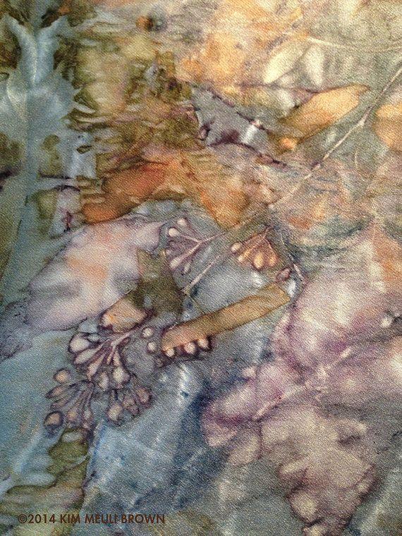 Shibori Dyed Silk Scarf Eco Print with Indigo by KimMeuliBrown on etsy                                                                                                                                                                                 More