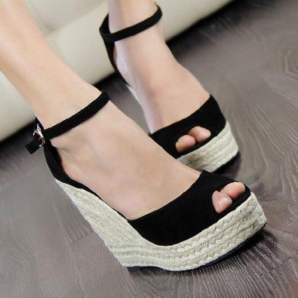 Women Sandals Summer Fashion Flock Fish Mouth Open Toe Buckle Fine Heel High Heel Women Shoe,3,12