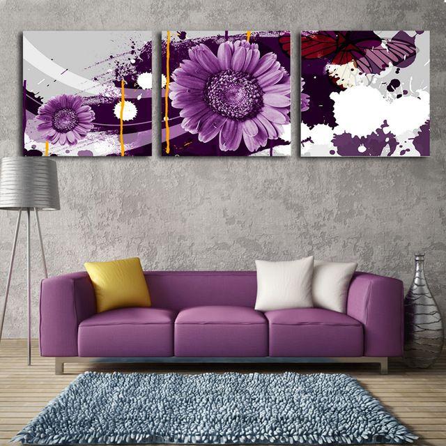2017 3 Parça Sanat Çiçek Resimleri Modern Dekor Tuval Boyama Mor Çiçek Baskı Boyama Oturma Odası Wall Resim Çerçevesi