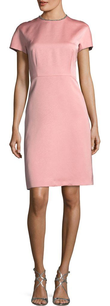 Satin Embellished-Collar A-Line Cocktail Dress by ESCADA. Escada dress in Duchesse satin. Round neckline with crystal embellished collar. Short raglan sleeves. Nips in at the ...