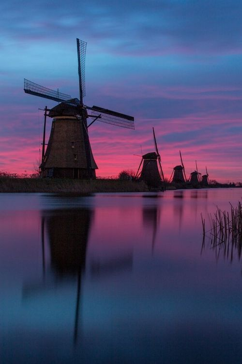 Right before sunrise - Kinderdijk, the Netherlands http://vertrekdirect.nl/bestemming/Nederland?utm_source=pinterest&utm_medium=textlink&utm_campaign=socialmedia