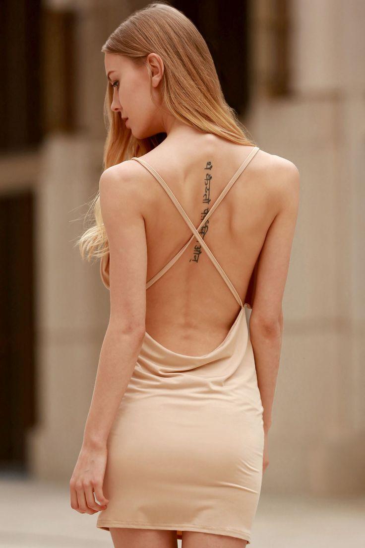 Spaghetti Strap Backless Club Dress