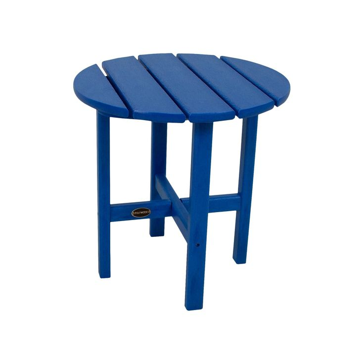 Polywood Round Patio Side Table - Pacific Blue, Pac Blue