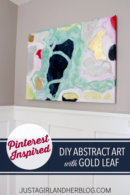 Why spend money on expensive art when you can DIY your own?! Love the gold leaf accents! | JustAGirlAndHerBlog.com