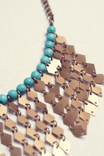 gold turquoise - earn frederica necklace - handmade