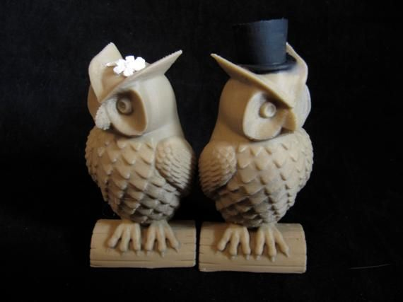 His And Hers Owl Cake Toppers Indie Wedding 3D Printed In