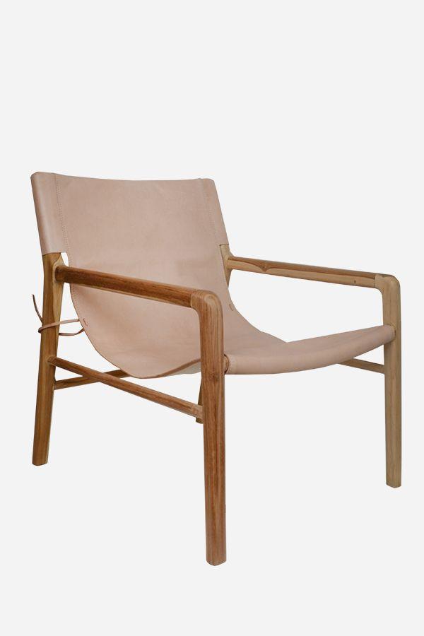 Leather Sling Chair  Teak  Natural 890  Albert St