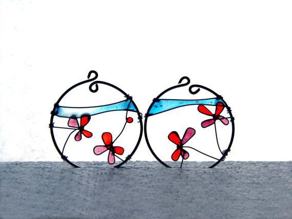 Wire resin earrings butterfly earrings resin by TheHappyLollipop