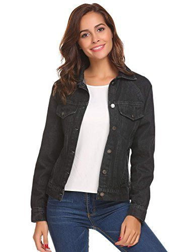 Zeagoo Women's Basic Lapel Button Down Denim Jean Jacket with Pocket Brand: Zeagoo  3 Color: Navy Blue, Black, Blue Design: Button Down, Chest Pocket, Side Pocket, Single Breasted, Turn Down Collar Season: Spring, Fall Sleeve: Long Sleeve Occasion: Casual, Street, Dating, Travel and so...  More details at https://jackets-lovers.bestselleroutlets.com/ladies-coats-jackets-vests/denim-jackets/product-review-for-zeagoo-womens-classic-denim-jean-jacket-with-pockets/