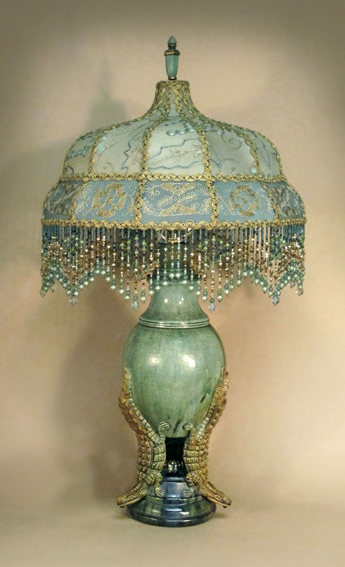 Vintage glass table lamps - Antique Table Lamp With Victorian Lamp Shade