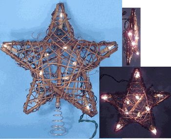 rustic christmas tree toppers | Grapevine Star Christmas Tree Topper, 10 Lights