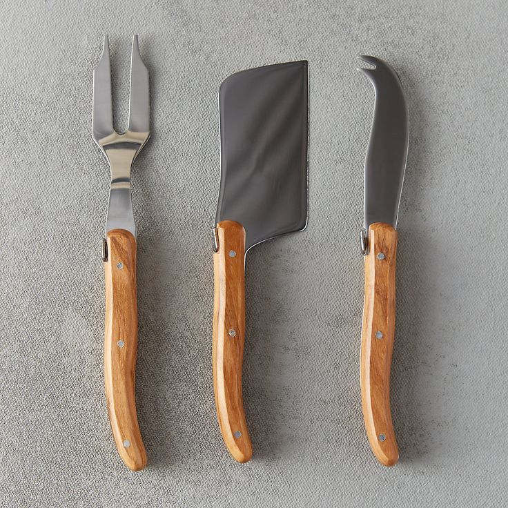 Perfect for serving cheese and charcuterie, this knife is finished with a handle of durable, Mediterranean olive wood. Each stainless steel utensil is