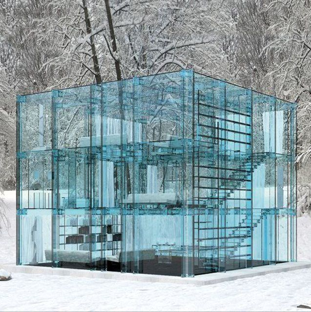 """""""Ice cube"""" house...: Favorite Places, Glasses, Architecture, Homes, Space, Glass Houses, Design"""