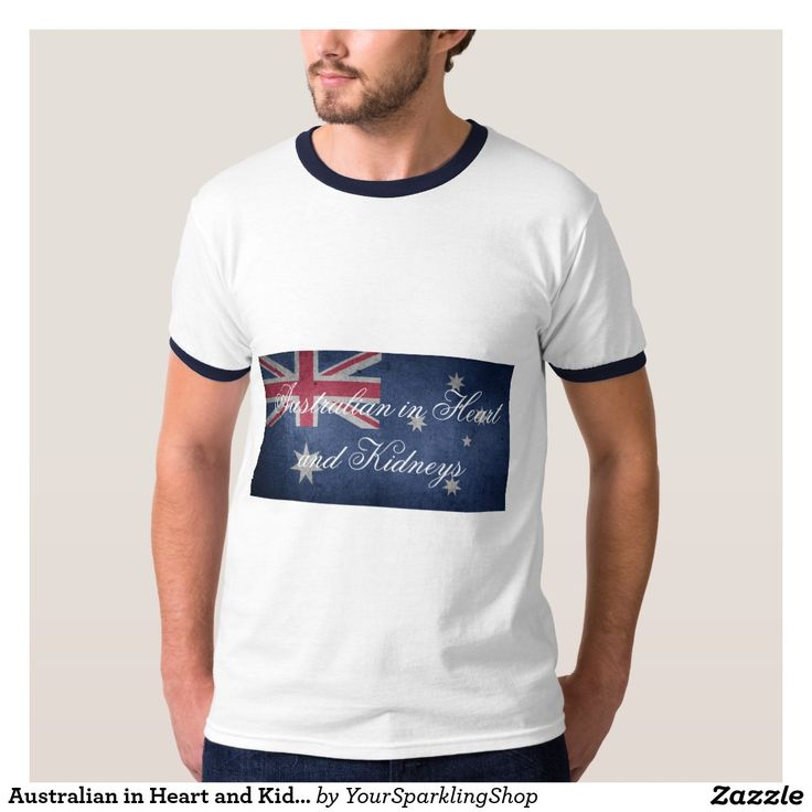 Australian in Heart & Kidneys, #Australia Men's Basic Ringer T-Shirt