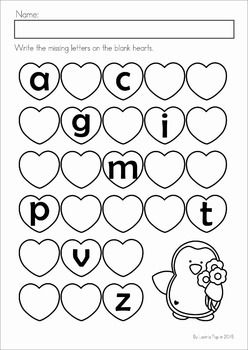 Kindergarten Valentine's Day Math and Literacy Worksheets & Activities No Prep. A page from the unit: missing letters