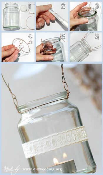 Con un tarro de cristal y un poco de alambre puedes hacer una lamparita para tu jardín... sigue el paso a paso. Material 1 tarro de cristal Alambre 1 velita 1 cinta (opcional) Más detalles: www.diy...