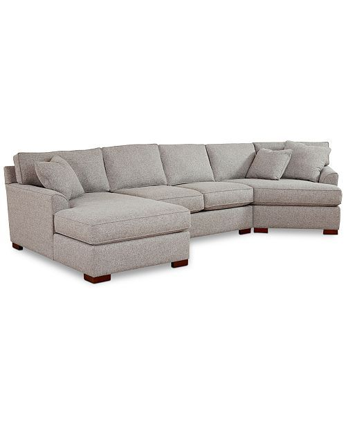 Carena 3 Pc Fabric Sectional Sofa With Armless Loveseat