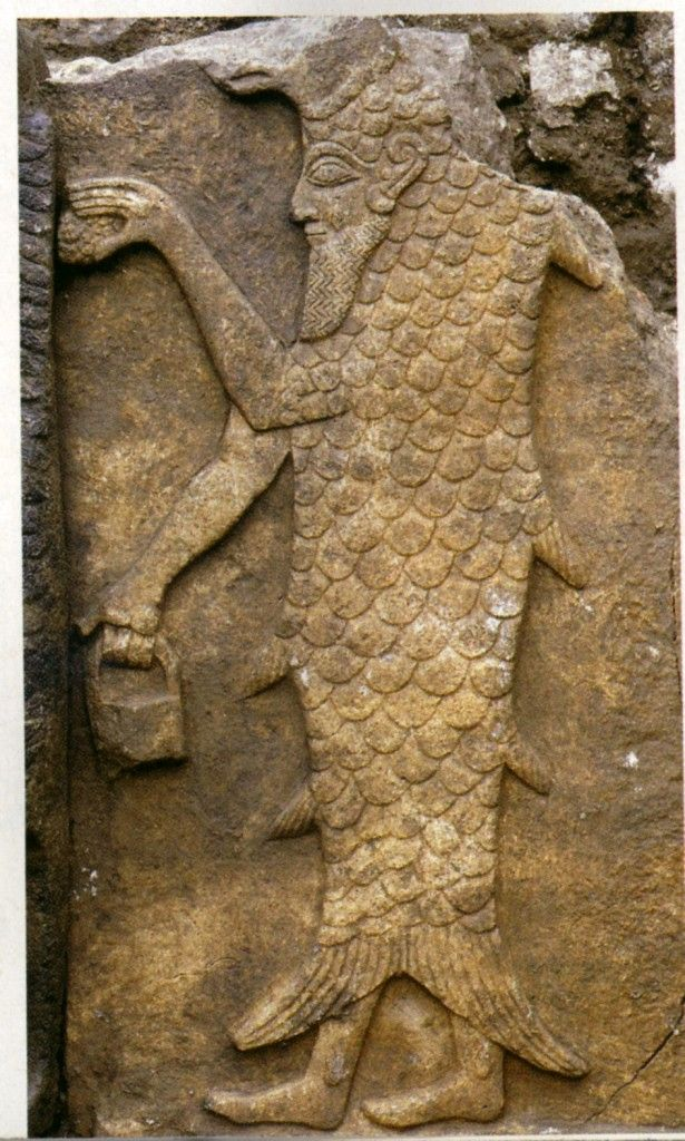 "A 14th-century B.C. relief depicts a ""fish-man"" carrying a pinecone and bucket, symbols of purification.Temple of the Storm God Adda, under Citadel of Aleppo"