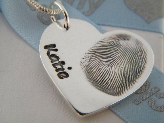 FINGERPRINT JEWELLERY Solid silver by PreciousCharmCompany on Etsy, £35.00