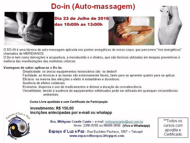 Espaço d'Luz e Paz: Curso de Auto-massagem em julho