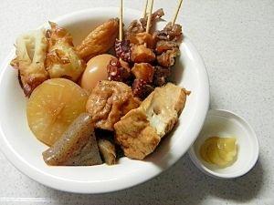 「関西だしと牛すじの大阪おでん(ご当地おでん)」大阪のおでんは、なんと言っても「だし」が大事!牛すじと蛸の足の旨みと、鶏がらスープの素も入った甘辛いだしが、なんとも言えない美味しさです!【楽天レシピ】