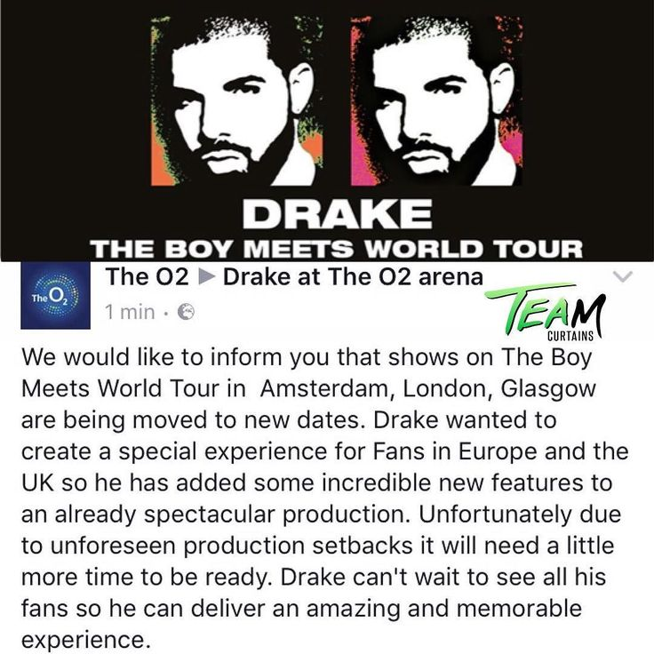 """Oh No! 'Hotline Bling' rapper #Drake this weekend postponed his been forced to moves the dates around The Boy Meets World European Tour.  Performances in Glasgow London and Amsterdam have been rescheduled due to """"unforeseen production setbacks"""" .  In a reps statement they announced: """"We would like to inform you that shows on the 'Boy Meets World Tour' in Amsterdam London Glasgow are being moved to new dates. Drake wanted his fans in Europe to experience a show in a lifetime so he added some…"""