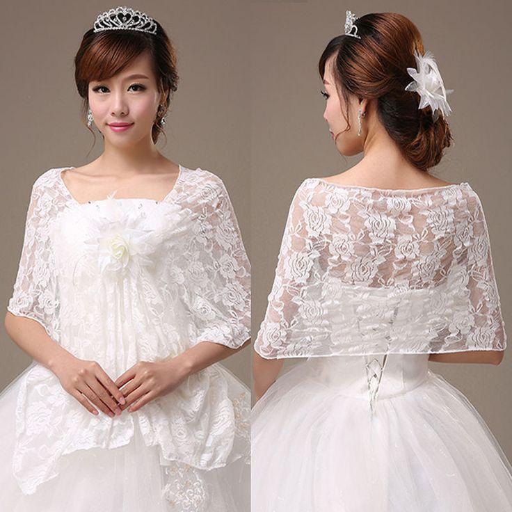 Elegant white chiffon lace wrap shrug bolero with flower for White bolero for wedding dress