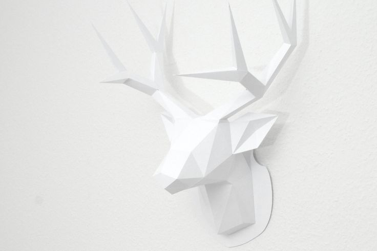 Low Poly Jagdtrophäe Hirsch Papier Skulptur Anleitung Vorlage DIY Tutorial